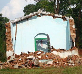 A church building destroyed by anti-Christian elements in Orissa, India (photo courtesy of the Global Council of Indian Christians)